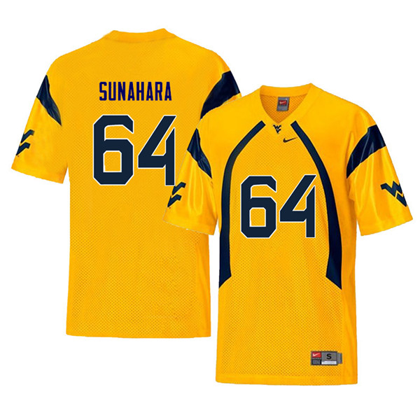Men #64 Rex Sunahara West Virginia Mountaineers Retro College Football Jerseys Sale-Yellow