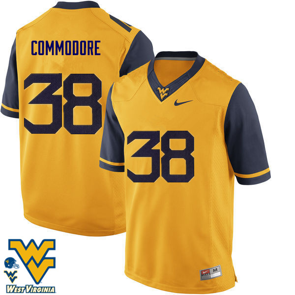 Men #38 Shane Commodore West Virginia Mountaineers College Football Jerseys-Gold