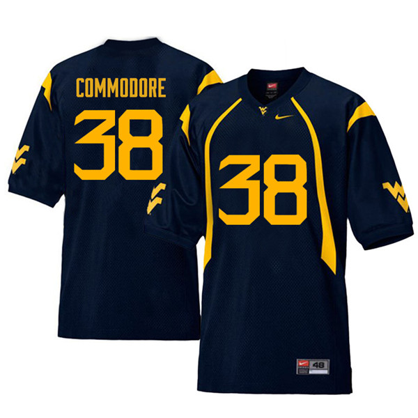 Men #38 Shane Commodore West Virginia Mountaineers Retro College Football Jerseys Sale-Navy