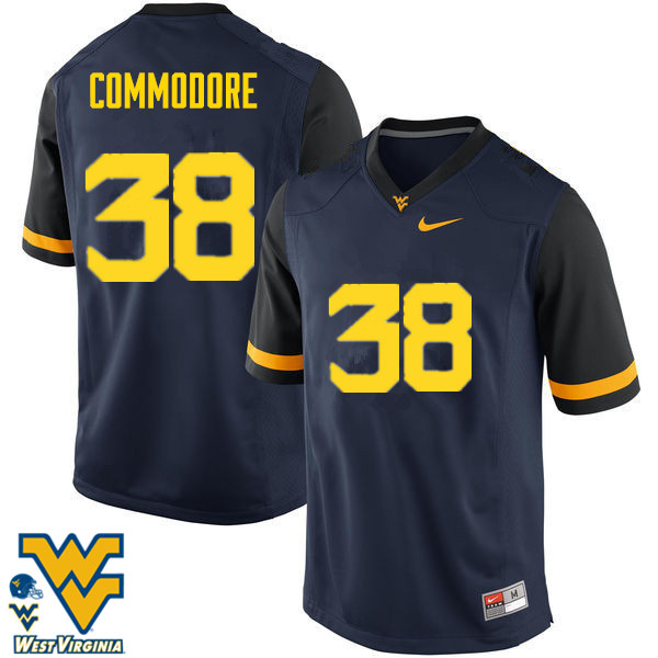 Men #38 Shane Commodore West Virginia Mountaineers College Football Jerseys-Navy