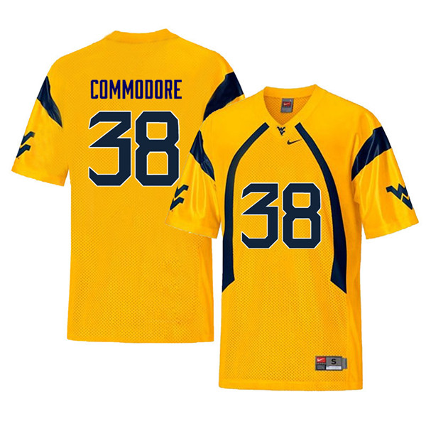 Men #38 Shane Commodore West Virginia Mountaineers Retro College Football Jerseys Sale-Yellow