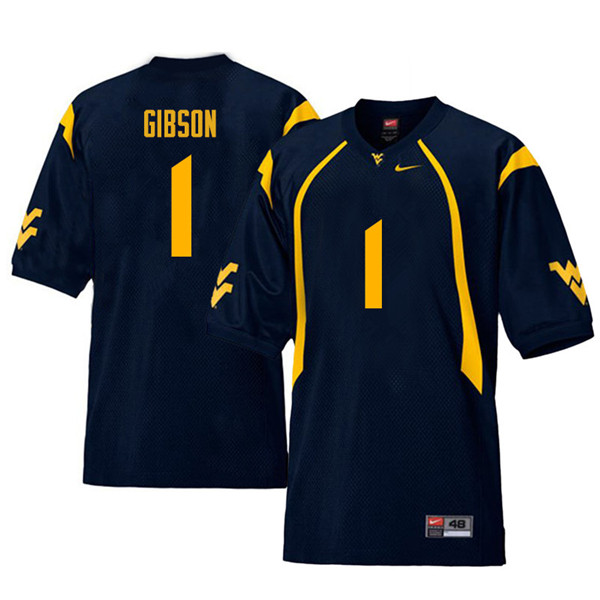 Men #1 Shelton Gibson West Virginia Mountaineers Retro College Football Jerseys Sale-Navy