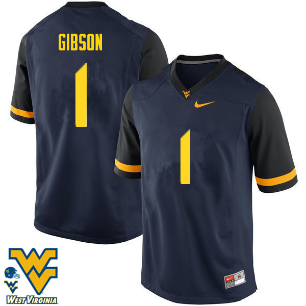 Men #1 Shelton Gibson West Virginia Mountaineers College Football Jerseys-Navy