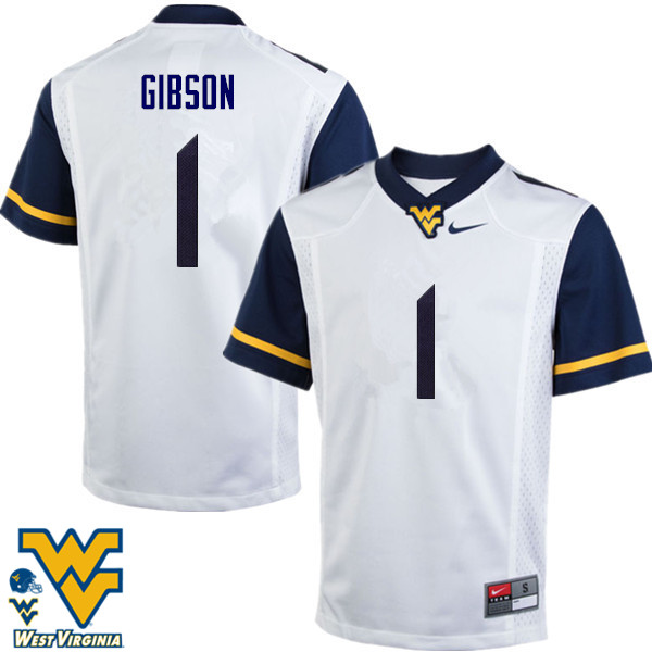 Men #1 Shelton Gibson West Virginia Mountaineers College Football Jerseys-White