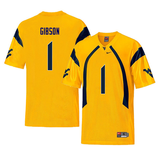 Men #1 Shelton Gibson West Virginia Mountaineers Retro College Football Jerseys Sale-Yellow