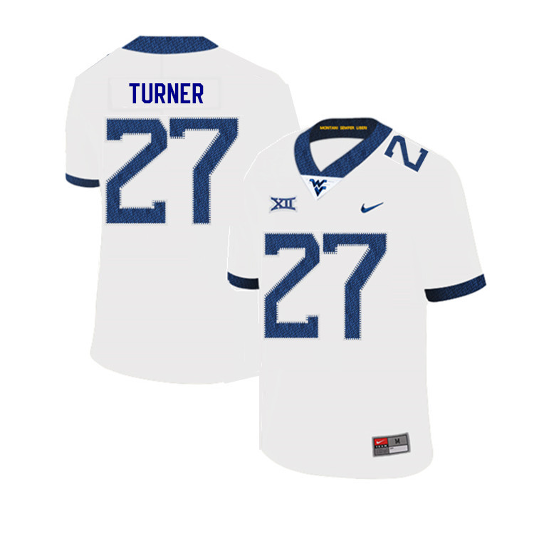 2019 Men #27 Tacorey Turner West Virginia Mountaineers College Football Jerseys Sale-White