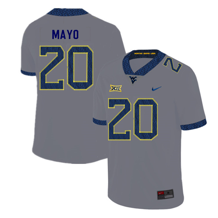 2019 Men #20 Tae Mayo West Virginia Mountaineers College Football Jerseys Sale-Gray