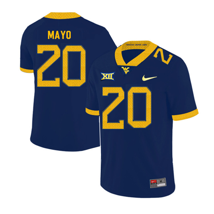 2019 Men #20 Tae Mayo West Virginia Mountaineers College Football Jerseys Sale-Navy