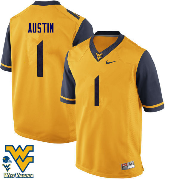 Men #1 Tavon Austin West Virginia Mountaineers College Football Jerseys-Gold