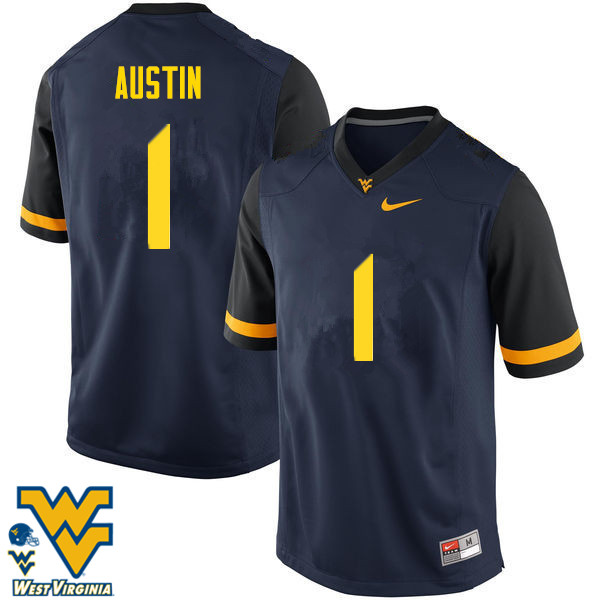 Men #1 Tavon Austin West Virginia Mountaineers College Football Jerseys-Navy