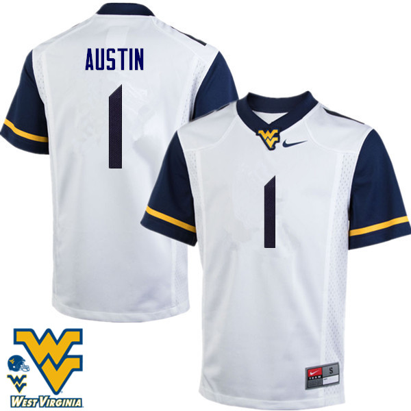 Men #1 Tavon Austin West Virginia Mountaineers College Football Jerseys-White