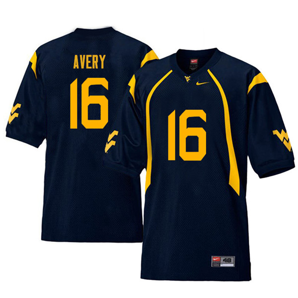 Men #16 Toyous Avery West Virginia Mountaineers Retro College Football Jerseys Sale-Navy