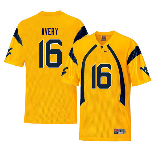 Men #16 Toyous Avery West Virginia Mountaineers Retro College Football Jerseys Sale-Yellow