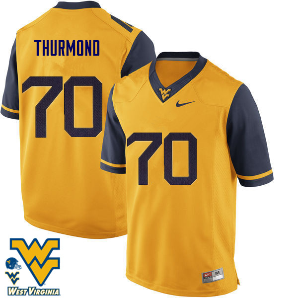 Men #70 Tyler Thurmond West Virginia Mountaineers College Football Jerseys-Gold