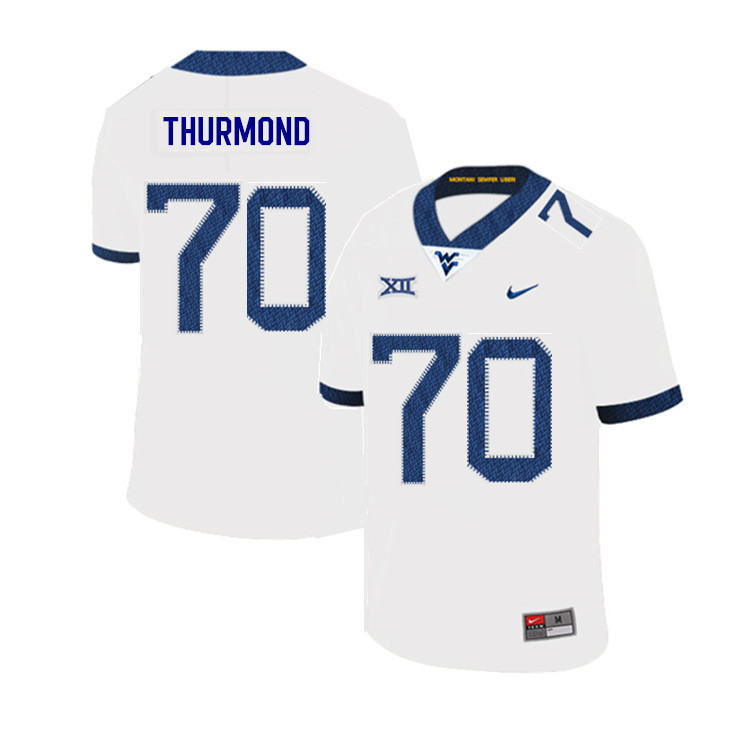 2019 Men #70 Tyler Thurmond West Virginia Mountaineers College Football Jerseys Sale-White