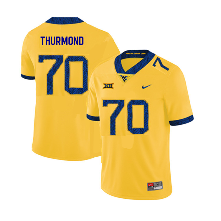 2019 Men #70 Tyler Thurmond West Virginia Mountaineers College Football Jerseys Sale-Yellow