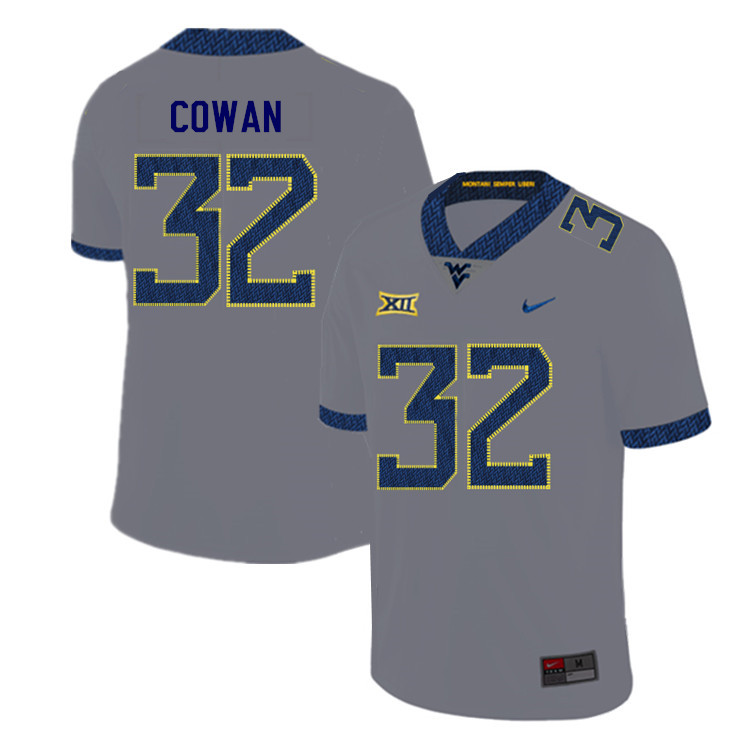 2019 Men #32 VanDarius Cowan West Virginia Mountaineers College Football Jerseys Sale-Gray