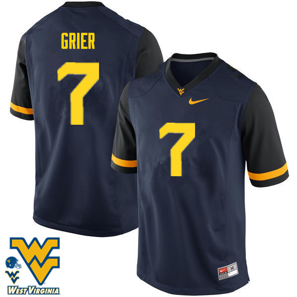 Men #7 Will Grier West Virginia Mountaineers College Football Jerseys-Navy