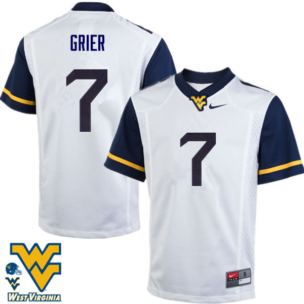 Men #7 Will Grier West Virginia Mountaineers College Football Jerseys-White