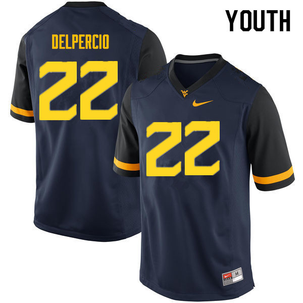 Youth #22 Anthony Delpercio West Virginia Mountaineers College Football Jerseys Sale-Navy