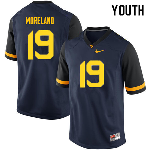 Youth #19 Barry Moreland West Virginia Mountaineers College Football Jerseys Sale-Navy
