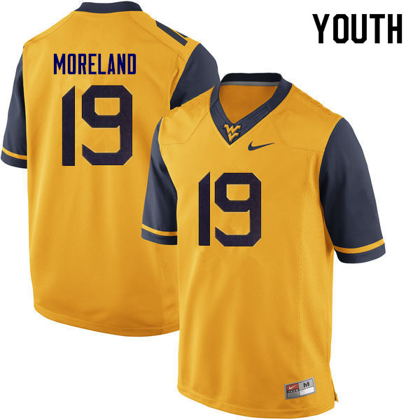 Youth #19 Barry Moreland West Virginia Mountaineers College Football Jerseys Sale-Yellow
