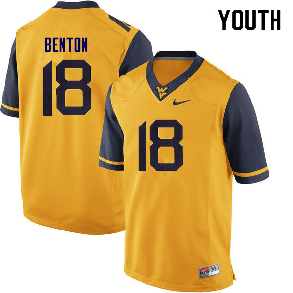 Youth #18 Charlie Benton West Virginia Mountaineers College Football Jerseys Sale-Yellow