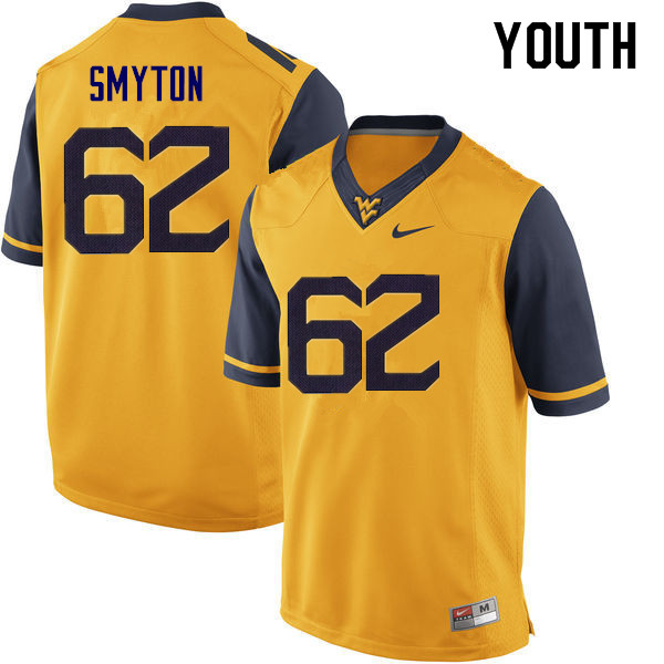 Youth #62 Garrett Smyton West Virginia Mountaineers College Football Jerseys Sale-Yellow