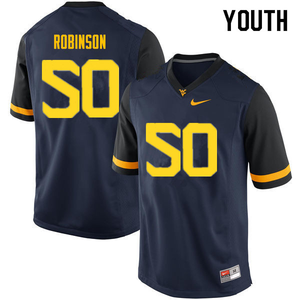 Youth #50 Jabril Robinson West Virginia Mountaineers College Football Jerseys Sale-Navy