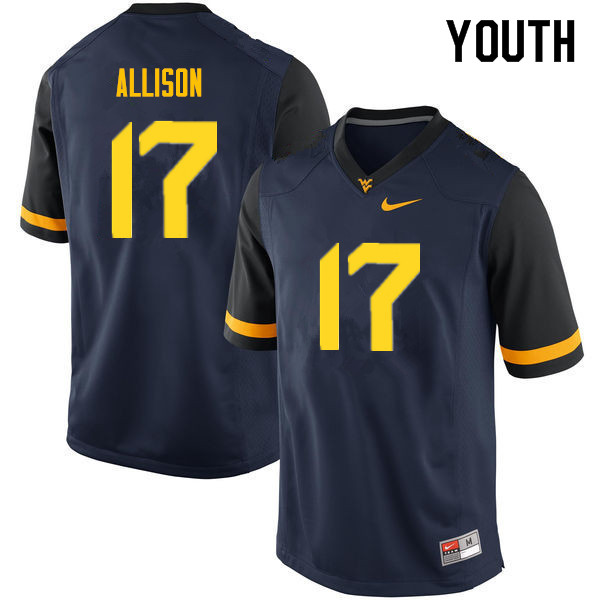 Youth #17 Jack Allison West Virginia Mountaineers College Football Jerseys Sale-Navy