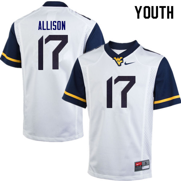 Youth #17 Jack Allison West Virginia Mountaineers College Football Jerseys Sale-White