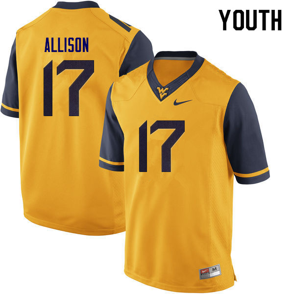 Youth #17 Jack Allison West Virginia Mountaineers College Football Jerseys Sale-Yellow