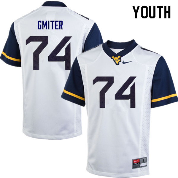 Youth #74 James Gmiter West Virginia Mountaineers College Football Jerseys Sale-White