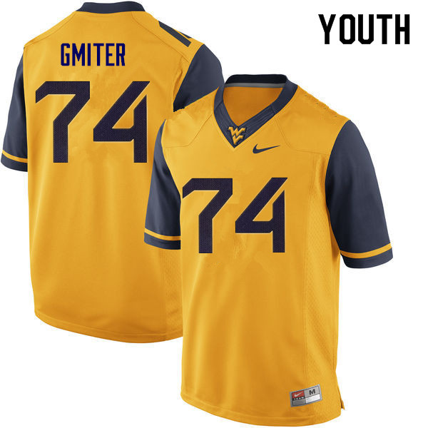 Youth #74 James Gmiter West Virginia Mountaineers College Football Jerseys Sale-Yellow