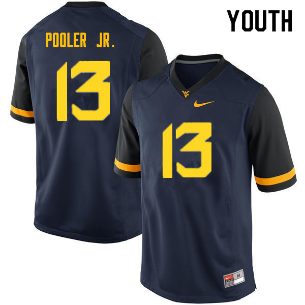 Youth #13 Jeffery Pooler Jr. West Virginia Mountaineers College Football Jerseys Sale-Navy