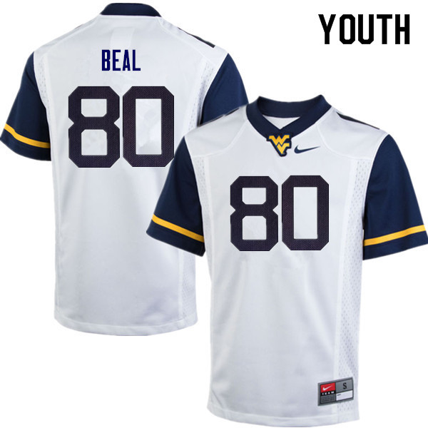 Youth #80 Jesse Beal West Virginia Mountaineers College Football Jerseys Sale-White