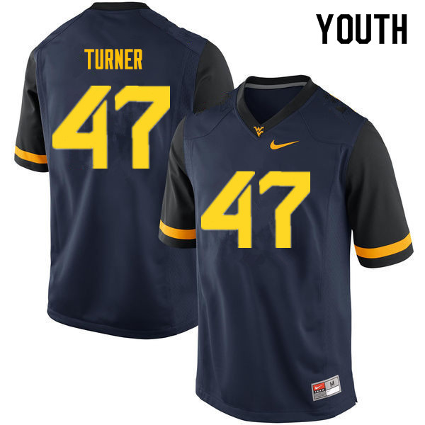 Youth #47 Joseph Turner West Virginia Mountaineers College Football Jerseys Sale-Navy
