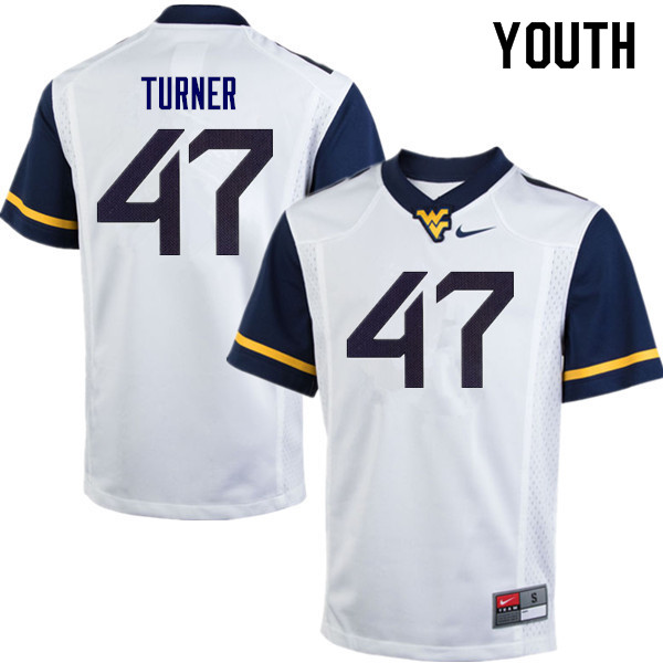 Youth #47 Joseph Turner West Virginia Mountaineers College Football Jerseys Sale-White
