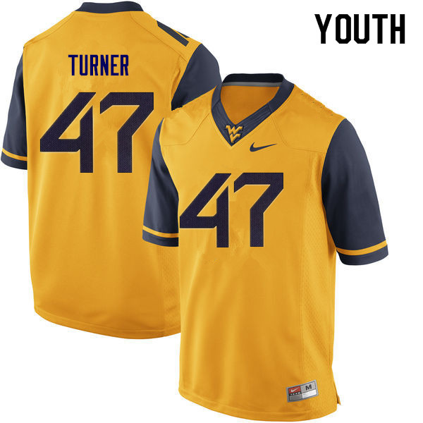 Youth #47 Joseph Turner West Virginia Mountaineers College Football Jerseys Sale-Yellow
