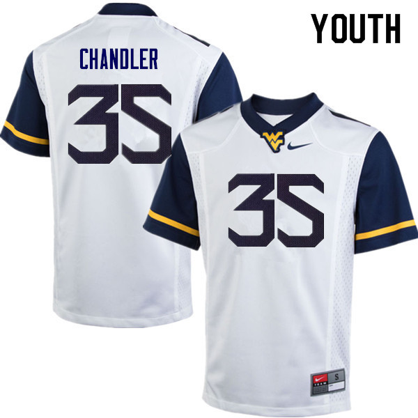 Youth #35 Josh Chandler West Virginia Mountaineers College Football Jerseys Sale-White
