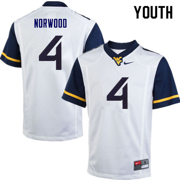Youth #4 Josh Norwood West Virginia Mountaineers College Football Jerseys Sale-White