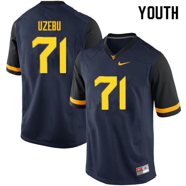 Youth #71 Junior Uzebu West Virginia Mountaineers College Football Jerseys Sale-Navy