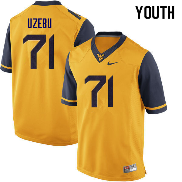 Youth #71 Junior Uzebu West Virginia Mountaineers College Football Jerseys Sale-Yellow