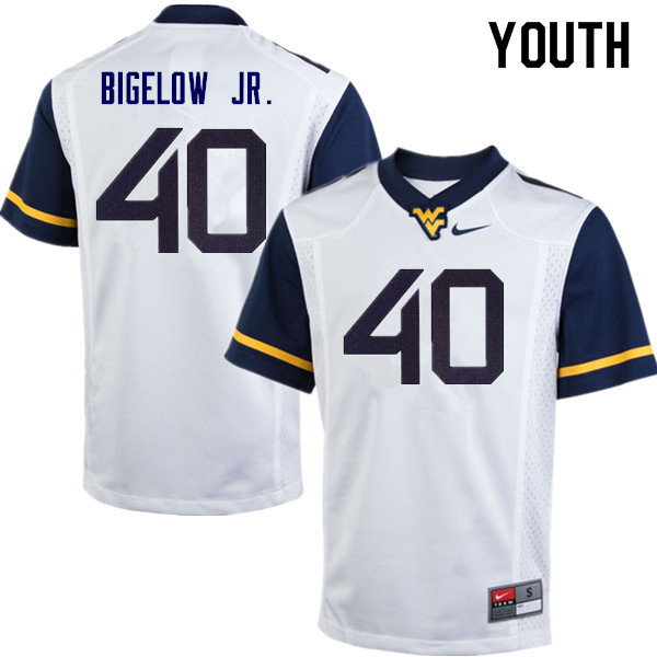 Youth #40 Kenny Bigelow Jr. West Virginia Mountaineers College Football Jerseys Sale-White