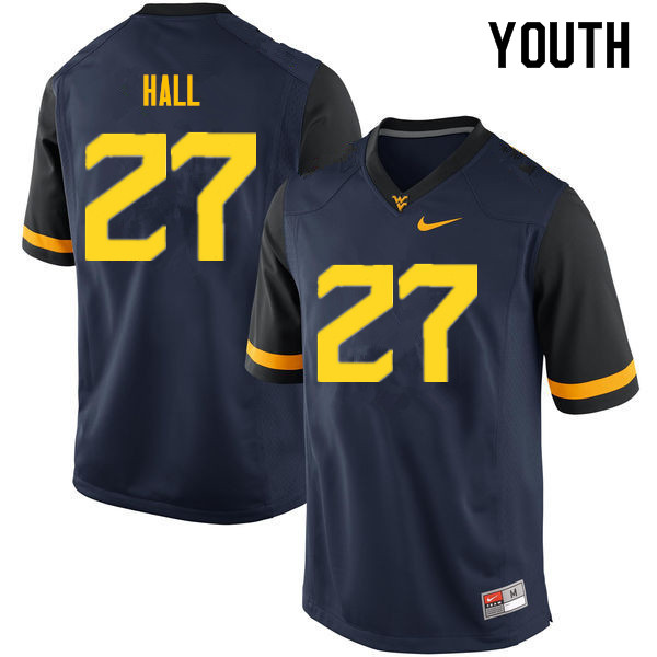 Youth #27 Kwincy Hall West Virginia Mountaineers College Football Jerseys Sale-Navy