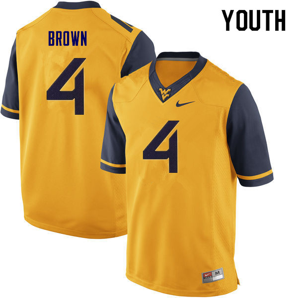 Youth #4 Leddie Brown West Virginia Mountaineers College Football Jerseys Sale-Yellow