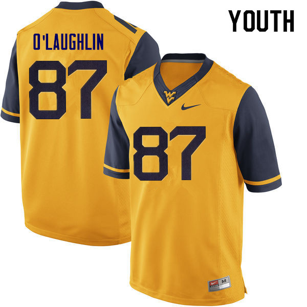 Youth #87 Mike O'Laughlin West Virginia Mountaineers College Football Jerseys Sale-Yellow