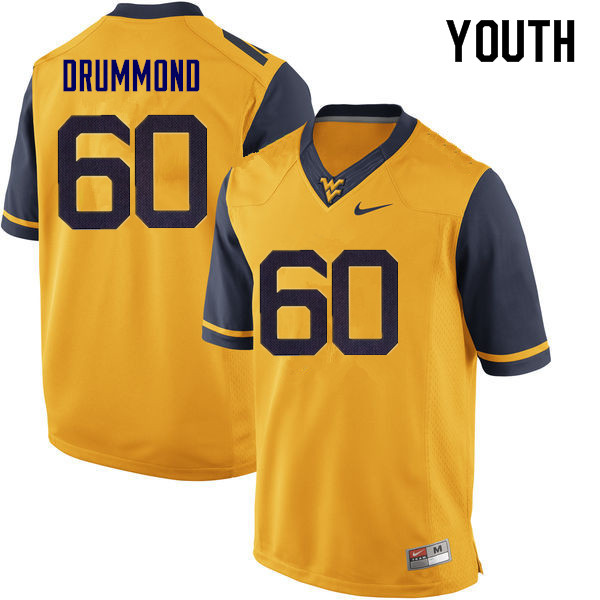 Youth #60 Noah Drummond West Virginia Mountaineers College Football Jerseys Sale-Yellow