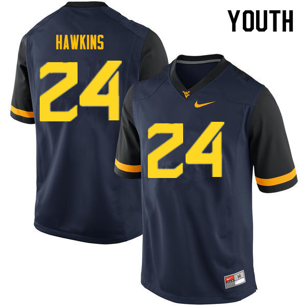 Youth #24 Roman Hawkins West Virginia Mountaineers College Football Jerseys Sale-Navy