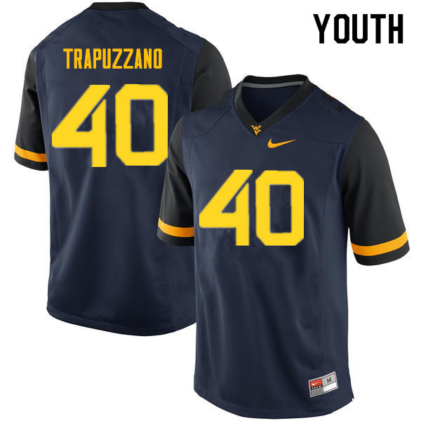 Youth #40 Sam Trapuzzano West Virginia Mountaineers College Football Jerseys Sale-Navy